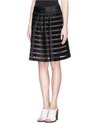 3.1 Phillip Lim Organza Stripe Plissé Pleat Skirt - Lyst