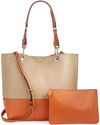 Calvin Klein Two-Tone Reversible Leather Tote - Lyst