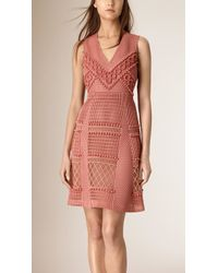 Burberry | Panelled Lace And Mesh Dress | Lyst