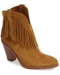 Saint Laurent 'New Western' Fringe Boot - Lyst