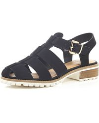 River Island Black Cleated Sole Sling Back Sandals - Lyst