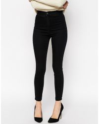 Asos Rivington High Waist Denim Jegging Ankle Grazer In Washed Black - Lyst