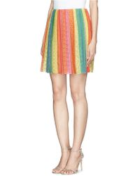 Valentino Rainbow Floral Lace Pleat Skirt - Lyst