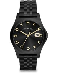 Marc By Marc Jacobs Henry Slim Black Ip Stainless Steel Bracelet Watch - Lyst