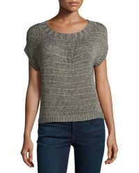 Halston Heritage Short-sleeve Shimmer Loop Sweater - Lyst