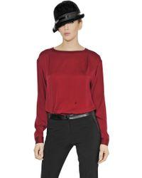 Emporio Armani Stretch Silk Top - Lyst