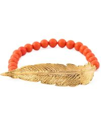 Leivan Kash - Beaded Feather Bracelet - Lyst