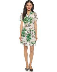 Ganni Gardenia Georgette Dress - Juniper Flower - Lyst