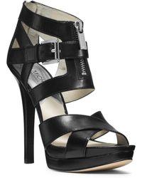 Michael Kors Anya Leather Platform Sandal - Lyst