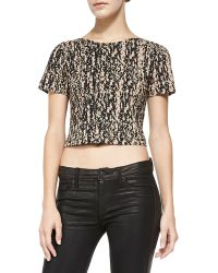 Theory Cash Cotton Cropped Top - Lyst