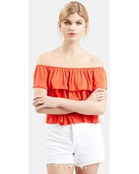 Topshop Off The Shoulder Top red - Lyst