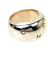 Chanel Pre-Owned Silver Letter Ring - Lyst