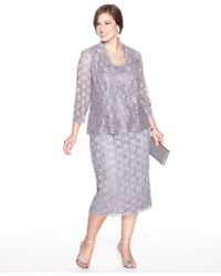 Lyst Alex Evenings Plus Size Sequin Lace Dress And Jacket In Gray