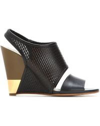 Chloé - Eliza Wedge Leather Sandals - Lyst