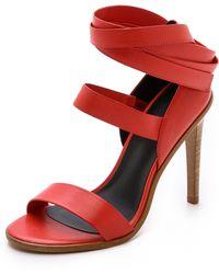 Tibi Pierce Ankle Wrap Sandals - Poppy - Lyst