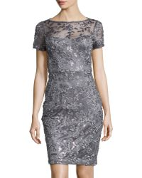 Sue Wong Short Sleeve Embroidered Sheath Dress - Lyst