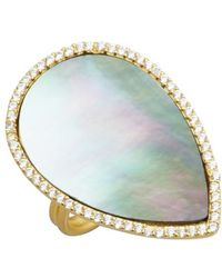 Soixante Neuf | Gold And Shell Teardrop Ring | Lyst