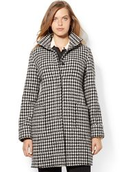 Lauren by Ralph Lauren Plus Houndstooth Coat - Lyst