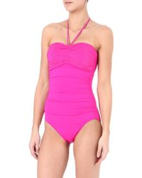 Seafolly Goddess Halterneck Swimsuit Pink - Lyst