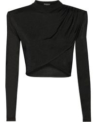 Balmain Cropped Knitted Top - Lyst