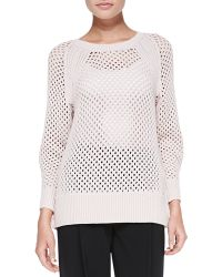 Rebecca Taylor Ribtrim Perforated Knit Pullover Top - Lyst