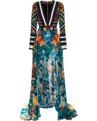 Elie Saab Printed Double Silk Georgette and Stretch Cotton V-neck Dress - Lyst