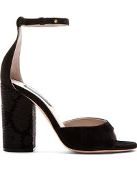 Marc Jacobs Black Sequin Embellished Heeled Sandals - Lyst