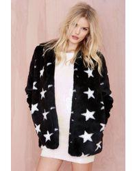 Nasty Gal Stargazer Faux Fur Coat - Lyst