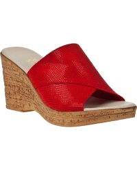 Onex For Jildor Christina-2 Wedge Sandal Red Leather - Lyst