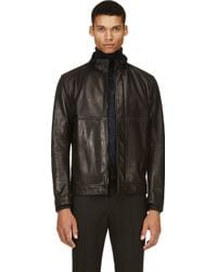 Calvin Klein Black Washed Leather Jacket - Lyst