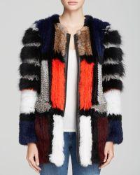 Elizabeth And James Tarra Leather-trimmed Colorblock Fur Coat - Lyst