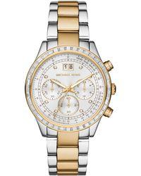Michael Kors Brinkley Glitz Two-Tone Stainless Steel Chronograph Bracelet Watch silver - Lyst