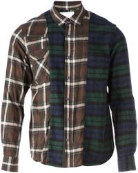 Sacai Panelled Plaid Shirt - Lyst