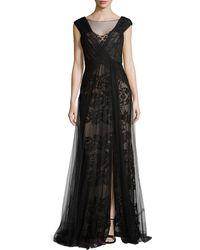 Monique Lhuillier Silk Gown Of Organza - Lyst