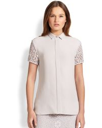 Burberry Silk Crochet Lace Blouse - Lyst