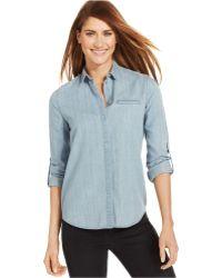 Calvin Klein Jeans Long-sleeve Chambray Denim Shirt - Lyst