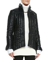 Helmut Lang Leather Puffer Jacket - Lyst