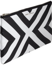 Saint Laurent Chevron Medium Zip Pouch - Lyst