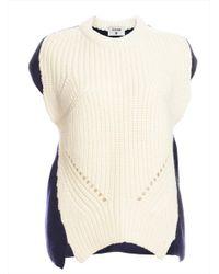 J.won - Ivory & Navy Knit Engineered Sleeveless Fisherman's Top - Last One - Lyst