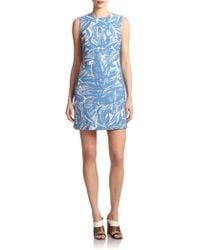 Tory Burch Printed A-Line Dress blue - Lyst