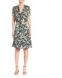 Tory Burch | Floral-print Tie-neck Dress | Lyst