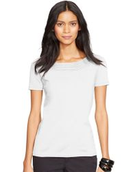Lauren by Ralph Lauren Pointelle-Knit Cotton Top - Lyst