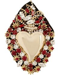 Dolce & Gabbana Sacred Heart Gold-plated Swarovski Crystal Brooch - Lyst