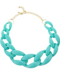 Kenneth Jay Lane Turquoise Link Necklace - Lyst