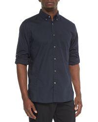 John Varvatos Solid Jacquard Roll-Tab Shirt - Lyst