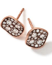 Ippolita 18K Rose Gold Pave 2-Disc Earrings With Diamonds - Lyst