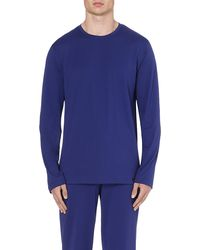 Hanro Plain Crew Neck Top Twilight Blue - Lyst