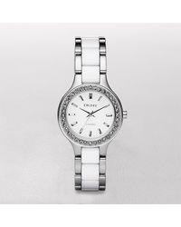 DKNY White Ceramic Silvertone Bracelet Watch - Lyst