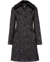 Halifax Traders - Wool Coat With Detachable Faux Fur Collar - Lyst