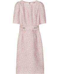Dolce & Gabbana Belted Jacquard Dress - Lyst